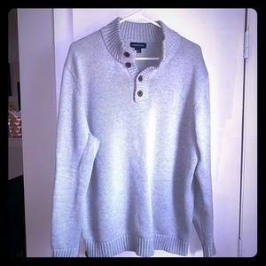 LANDS' END Grey Cotton Knit Mock Neck Sweater-L